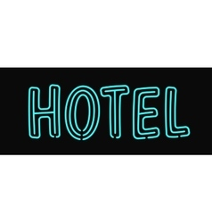 Hotel neon sign illuminated advertising with night vector image vector image