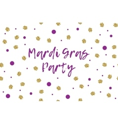 Mardi gras greeting card with violet and gold dots vector image vector image