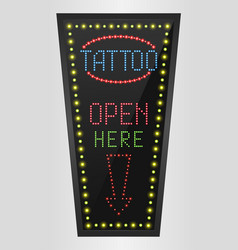 Shining retro light banner tattoo open here vector