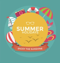 Summer holidays typography with Flat icon summer vector image vector image