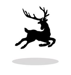 black silhouette christmas reindeer white vector image