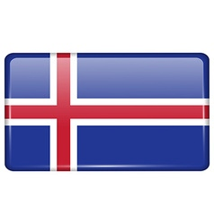 Flags Iceland in the form of a magnet on vector image
