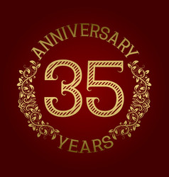 golden emblem of thirty fifth anniversary vector image vector image