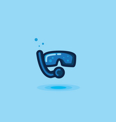 icon mask and snorkel tube vector image