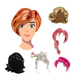 beautiful young girl with different hair vector image vector image