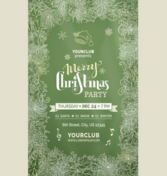 Chalk merry christmas party template vector