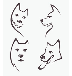 funny dogs heads vector image vector image