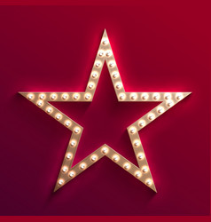 hollywood film star with light bulb marquee retro vector image