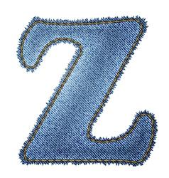 Jeans alphabet Denim letter Z vector image