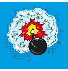 comic bomb explosion pop art retro style halftone vector image