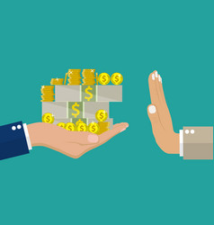 hand giving money to other vector image