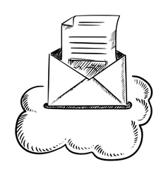 Open e-mail letter in cloud vector image vector image