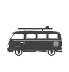 Summer retro -bus with surf vector image