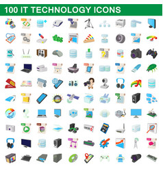 100 it technology icons set cartoon style vector