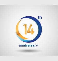 14 anniversary design with blue and golden circle vector
