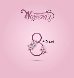 8 march sign and abstract pink floral greeting vector image