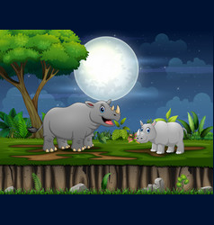 a rhino and her cub playing at night vector image