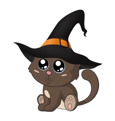 Adorable kitty in a witch hat vector image
