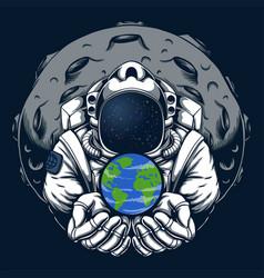Astronaut safe earth vector