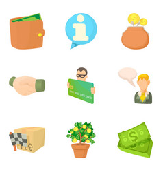 Bankrupt icons set cartoon style vector