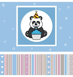 Bear with a cupcake vector image vector image