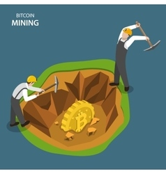 Bitcoin mining isometric flat concept vector image