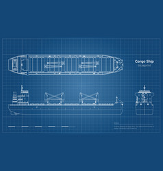 Blueprint of cargo ship on white background vector