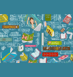Books education and hobby background vector