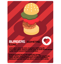 burgers color isometric poster vector image