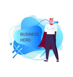 Business hero man wearing mantle male superman vector