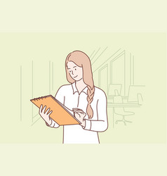 Business work examination report office vector