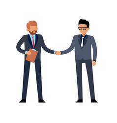 Businessmen handshake flat two young standing vector