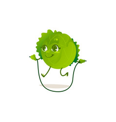 cabbage character skipping rope vector image