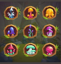 Cartoon fantasy mushrooms in the frames vector