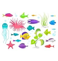 Cartoon fish collection set vector