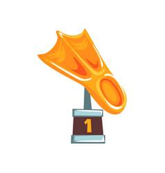 Cartoon golden trophy in form fin on brown base vector
