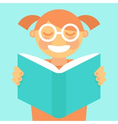 cartoon kid reading book vector image