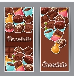 Chocolate vertical banners with various tasty vector
