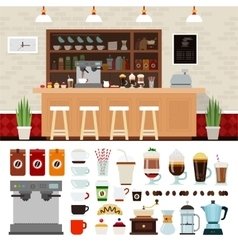 Coffee set with shop interior vector