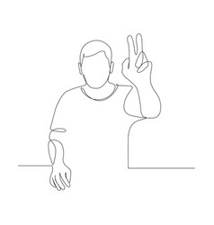 continuous one line woman pull her hand up want vector image
