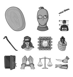 Crime and punishment monochrome icons in set vector