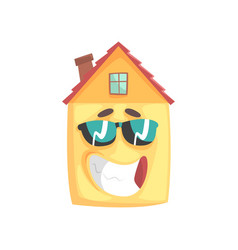 Cute house cartoon character with smiling face and vector