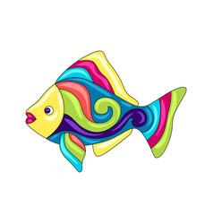 decorative ornamental fish mexican ceramic cute vector image