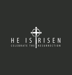 Easter banner with cross and crown of thorns vector