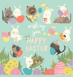 easter set with bunnyeggsrabbitflowerscats vector image