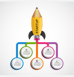 education infographic design template rocket of a vector image