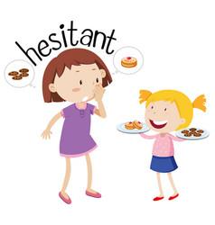 english vocabulary word hesitant vector image