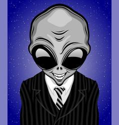 Extraterrestrial alien in striped suit with tie vector
