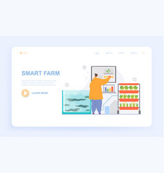 Female characters is working on smart farm vector