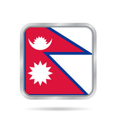 flag of nepal shiny metallic gray square button vector image